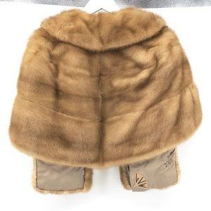 Vintage Jackets & Coats - Vintage Mink Fur Cape OS Shawl Winter Layer